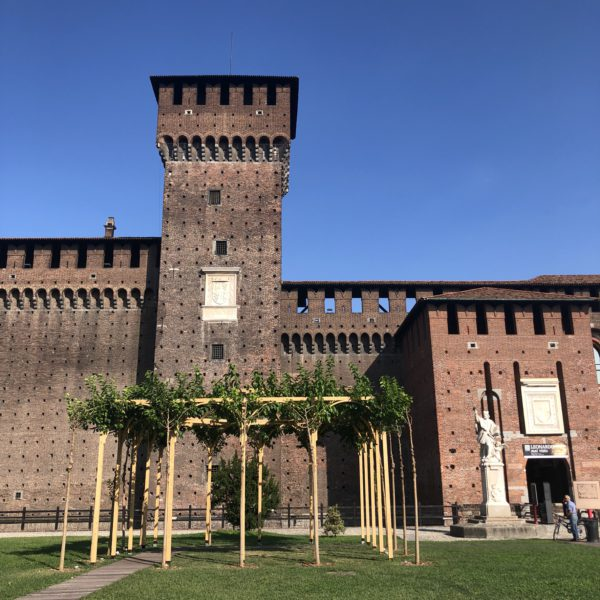 This is a view of the Castello Sforzesco in Milan