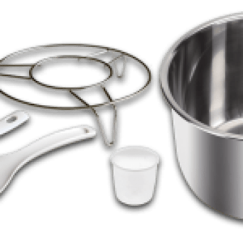 InstantPot IP-CSG60 assessories: stainless steel 3-ply inner-pot & steaming rack, soup spoon, rice paddle and measuring cup