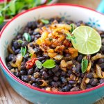 Instant Pot Black Beans With Spiced Fried Onions