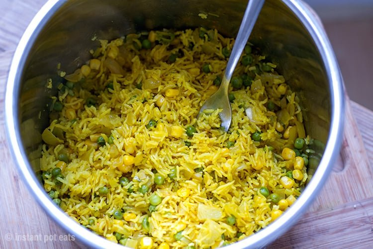 Homemade Yellow Rice With Peas Corn Instant Pot Recipe