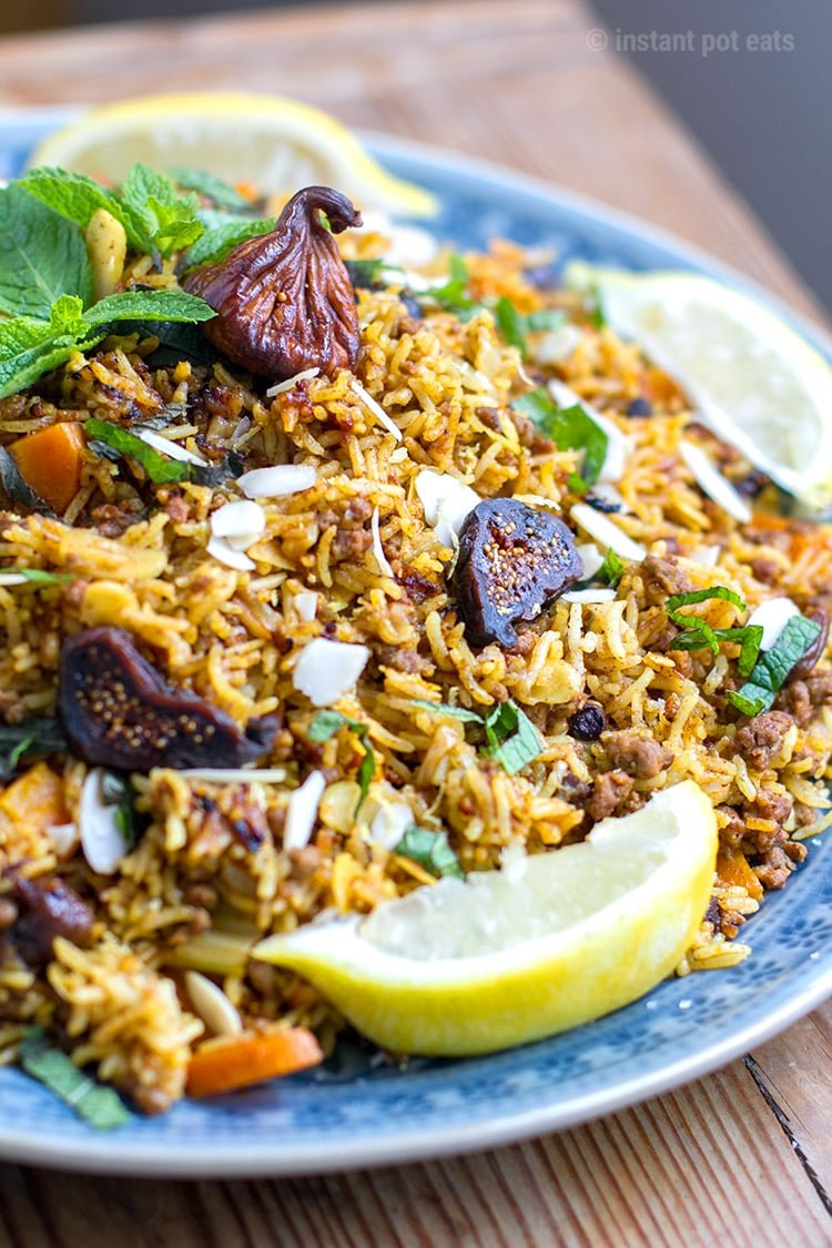 Instant Pot Rice Pilaf With Ground Lamb Almonds Amp Figs