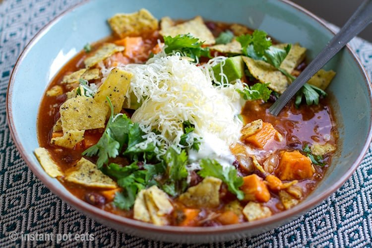 Instant pot sweet potato tortilla soup vegan vegetarian gluten dish serve without sour cream and cheese that is also free of gluten or any added sugar you can find more vegetarian instant pot recipes here forumfinder Images