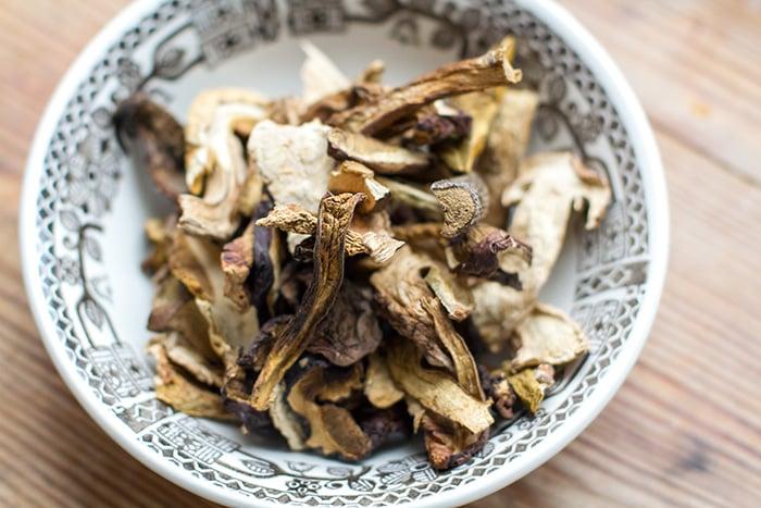 Dried porcini mushrooms used for Instant Pot mushroom soup
