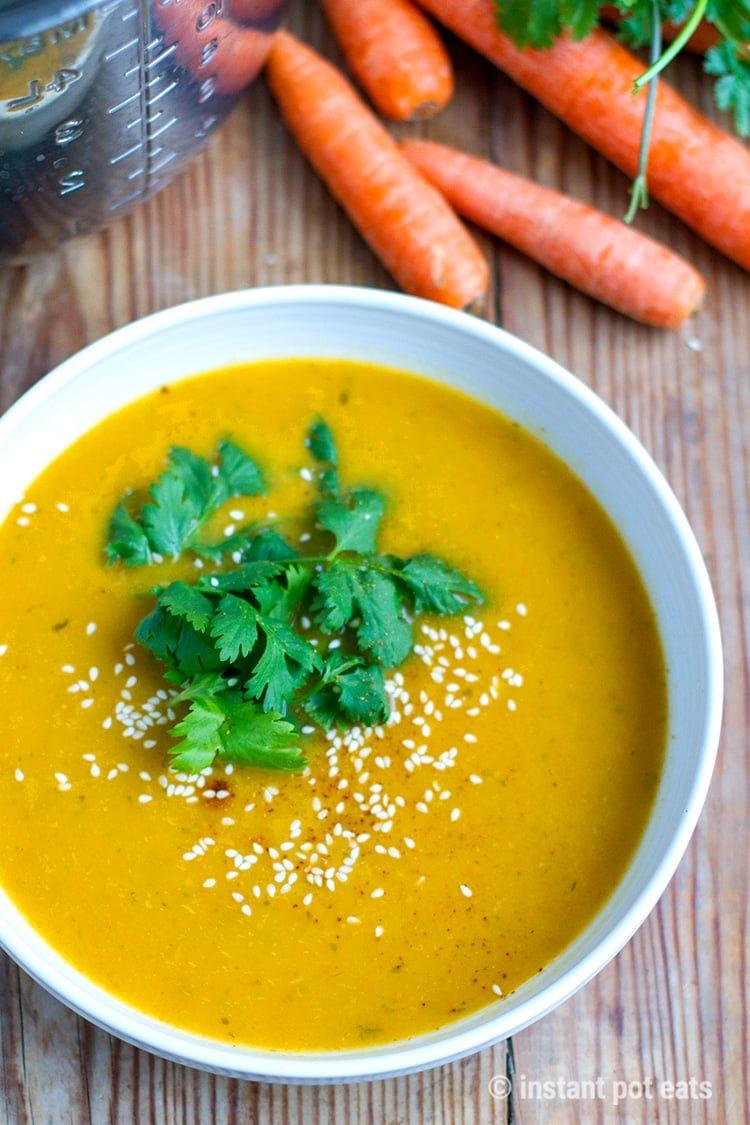 Instant Pot Carrot Soup With Lemongrass & Cilantro