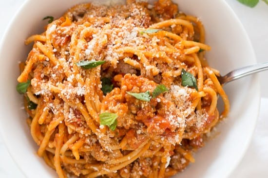 Instant pot spaghetti with turkey meat sauce