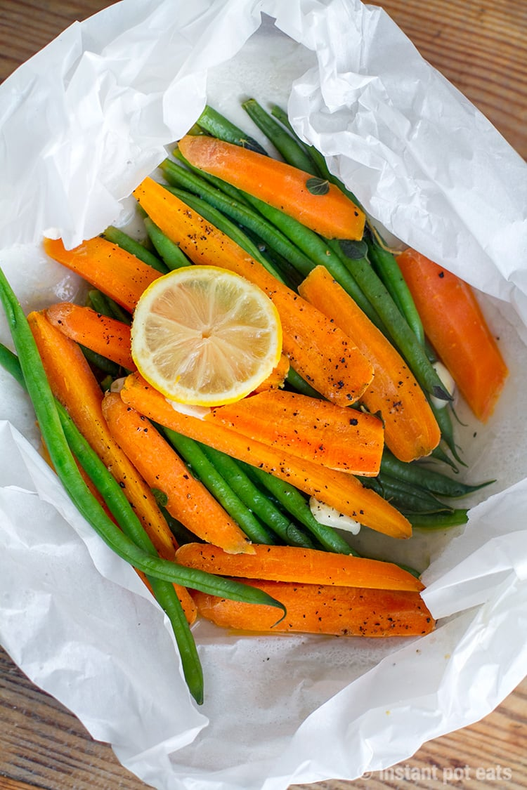 Pressure cooker vegetables en papillote