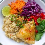 Healthy Instant Pot Brown Rice & Chicken Thai Style