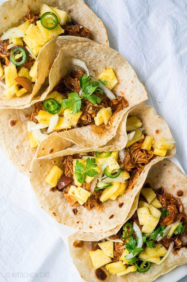 BBQ Instant Pot Chicken Tacos With Pineapple Salsa   #instantpot #pressurecooker #chicken
