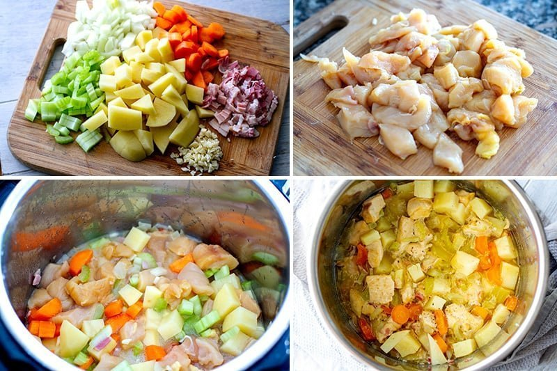 How to make pressure cooker chicken pot pie filling