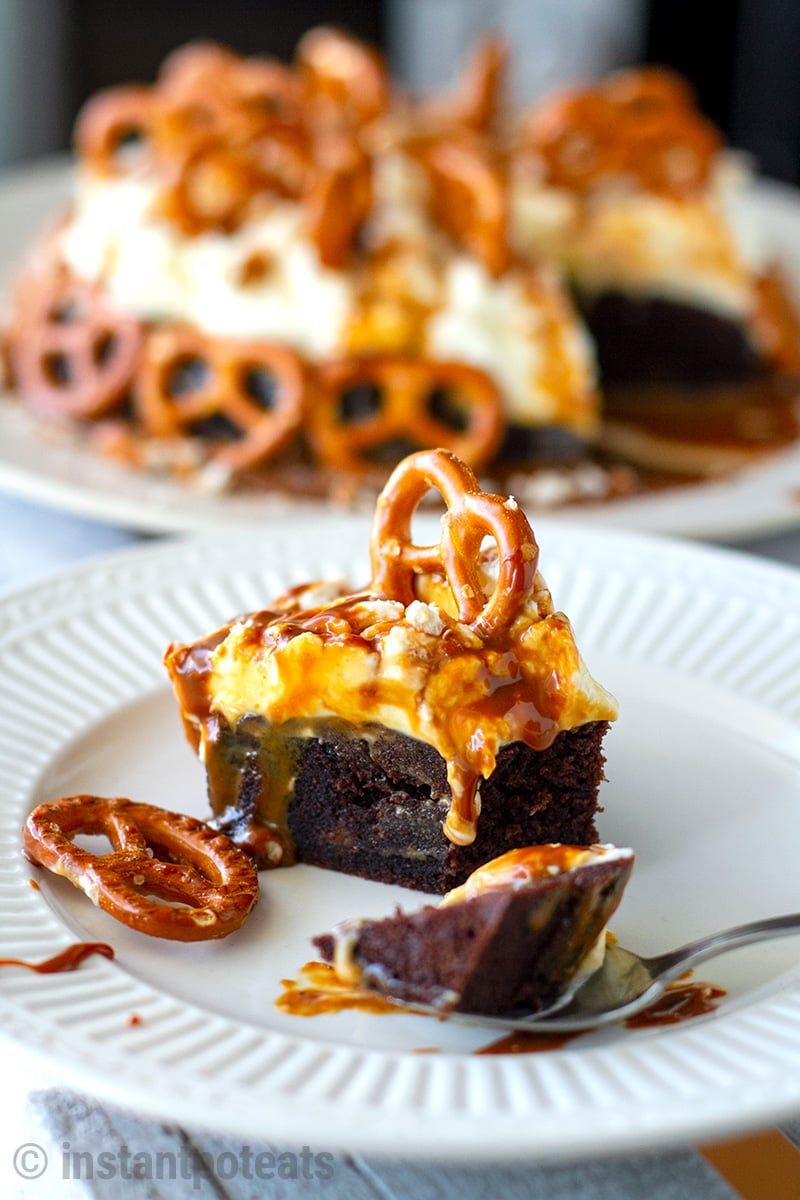 Instant Pot Chocolate Cake With Salted Caramel & Pretzels