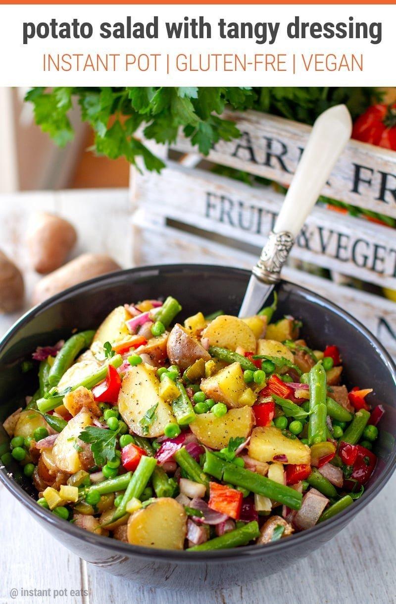 Instant Pot Potato Salad With Tangy Vinaigrette (Vegan, Gluten-free, Whole30) #instantpot #potatosalad #salads #salad #vegan #glutenfree