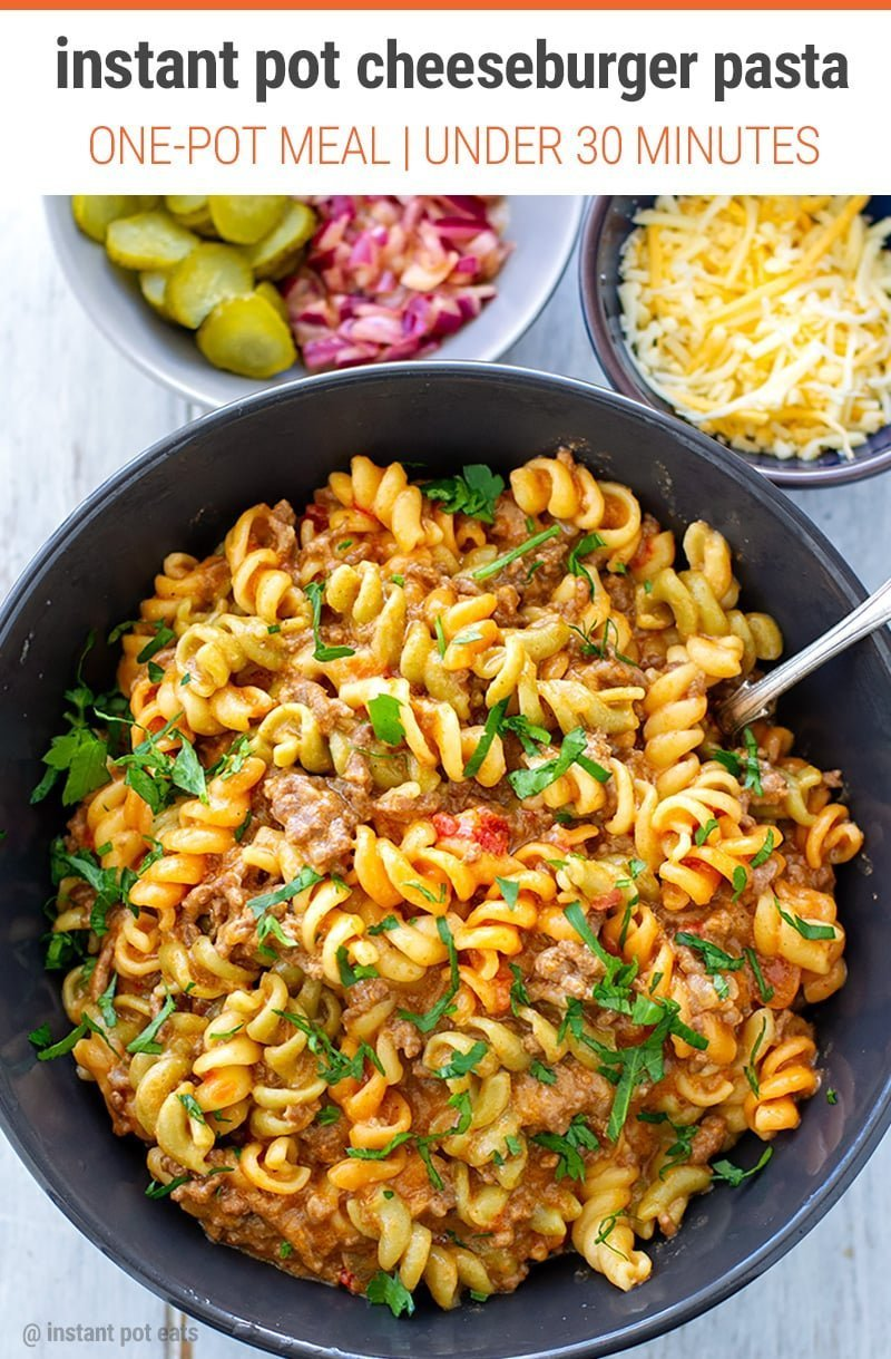 Instant Pot Cheeseburger Pasta (Hamburger Helper Inspired) #instantpot #pressurecooker #pasta #groundbeef #instantpotrecipes