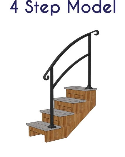 Instantrail – The Original Instantly Adjustable Handrail | Aluminum Outdoor Stair Railing | 2 Step | Pressure Treated Deck Black | Commercial | Modern | Front Entrance