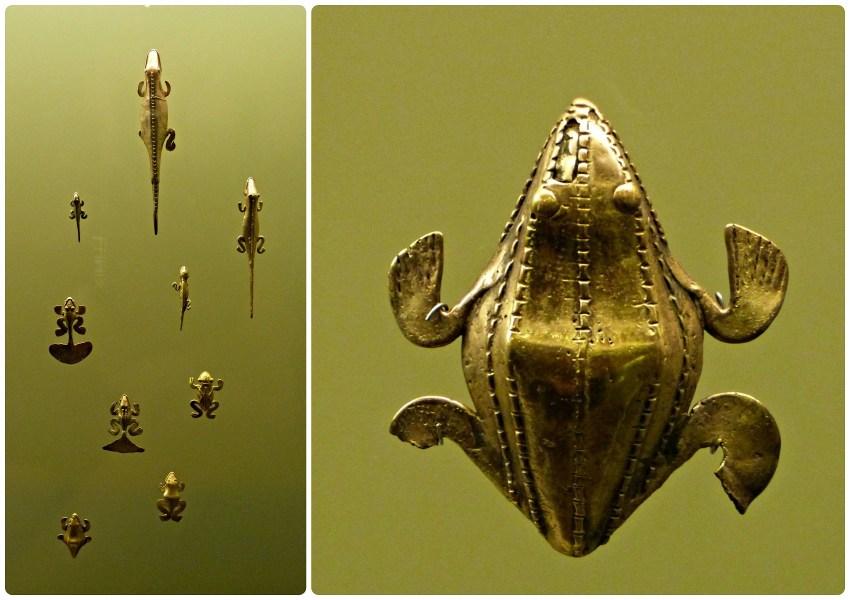 Objetos presentados en el Museo del Oro de Armenia representando animales (ranas, salamandras...)