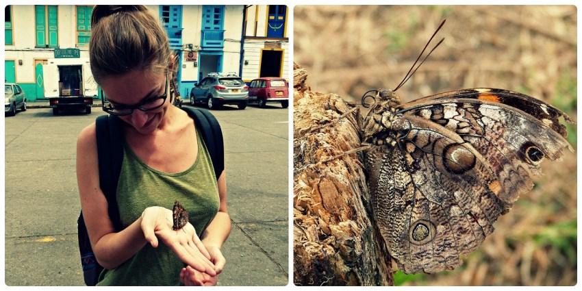 Charlène tenant un papillon dans sa main sur la Place Bolívar de Salento