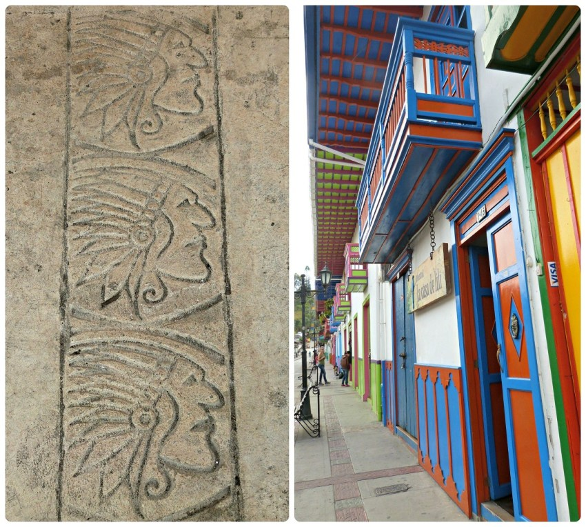 Détails représentant des têtes d'indiens trouvés sur les trottoirs des rues de Salento