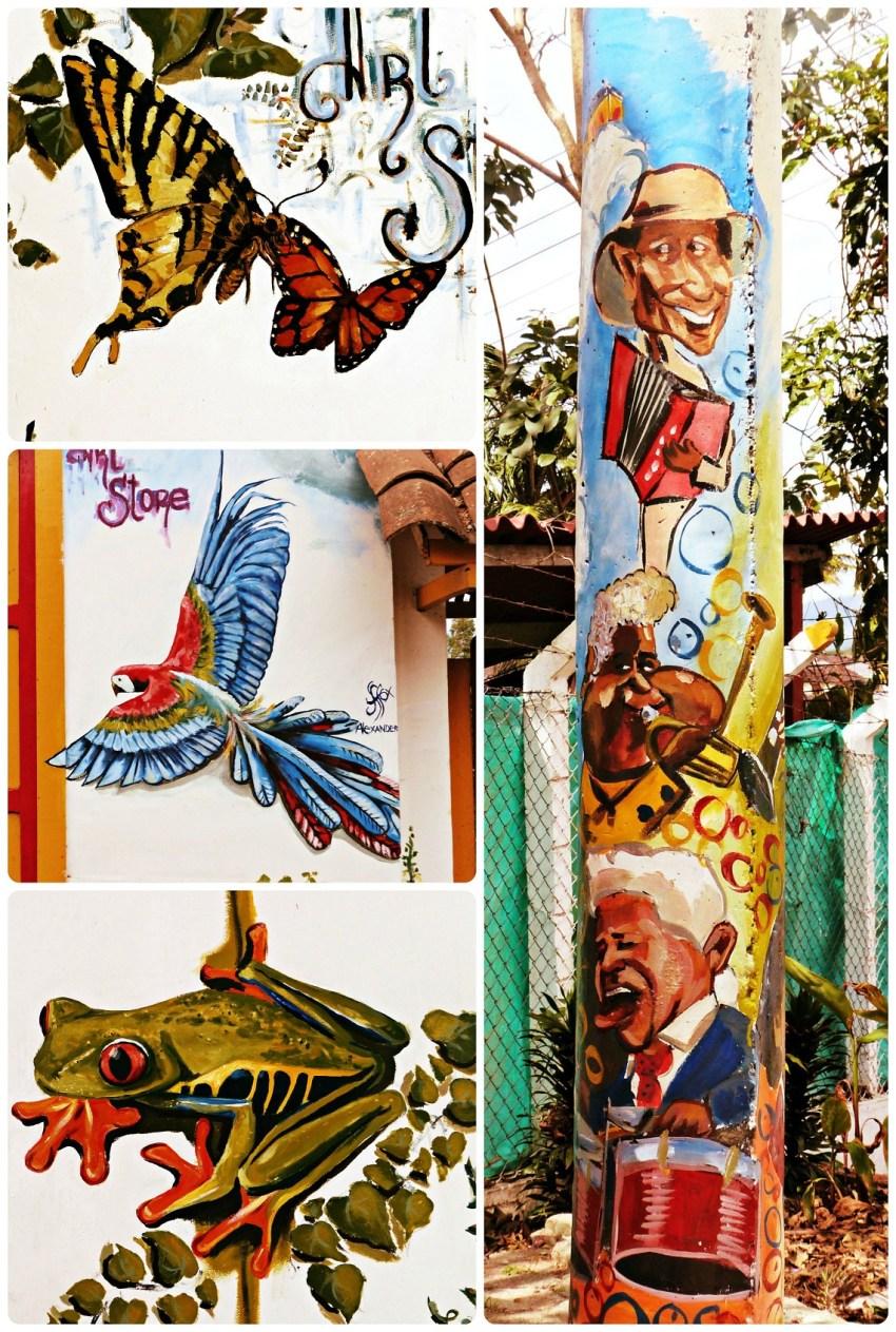 Obras de street art, representando mariposas, un loro, una rana y músicos, en los muros de una tienda del pueblo de Salento