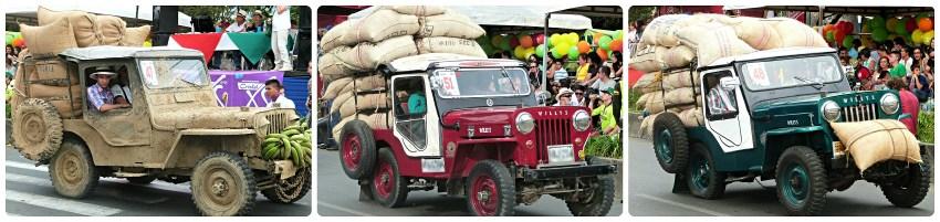 Jeeps cargadas de café en el desfile del Yipao en Armenia