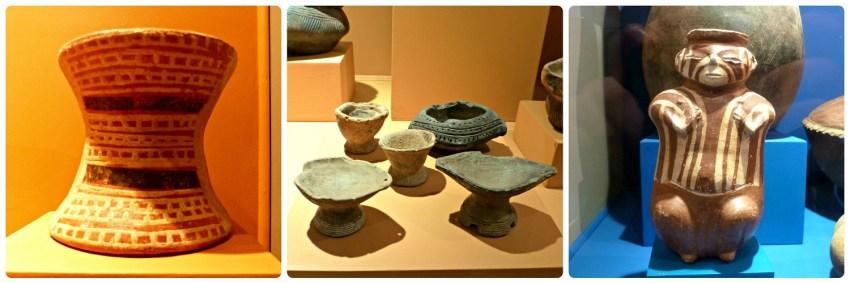 3 photos présentant des pots funéraires au Musée archéologique de Manizales