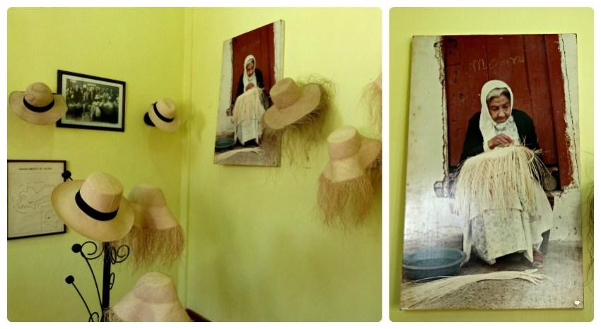 Sombrero y foto de una mujer fabricando uno, en el museo nacional del sombrero en la casa de la cultura en Aguadas