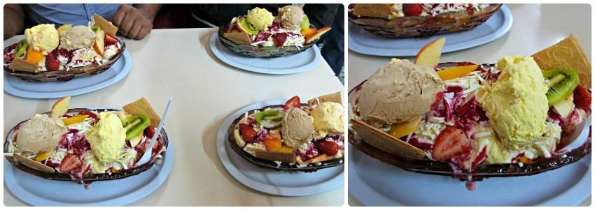 Ensaladas de frutas, con helado, que pedimos en Bogotá