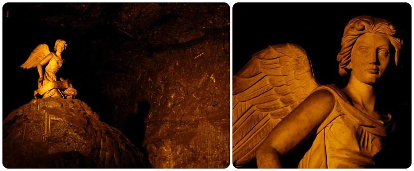 Un ángel puesto sobre una enorme roca de la catedral de sal de Zipaquira