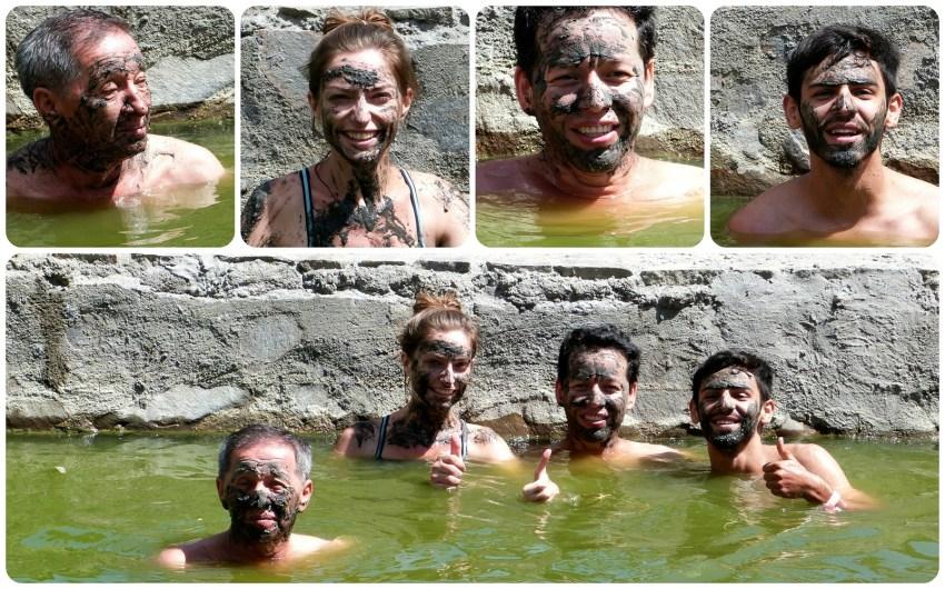 Nosotros con lodo en la cara en Aguas Tibias de Coconuco