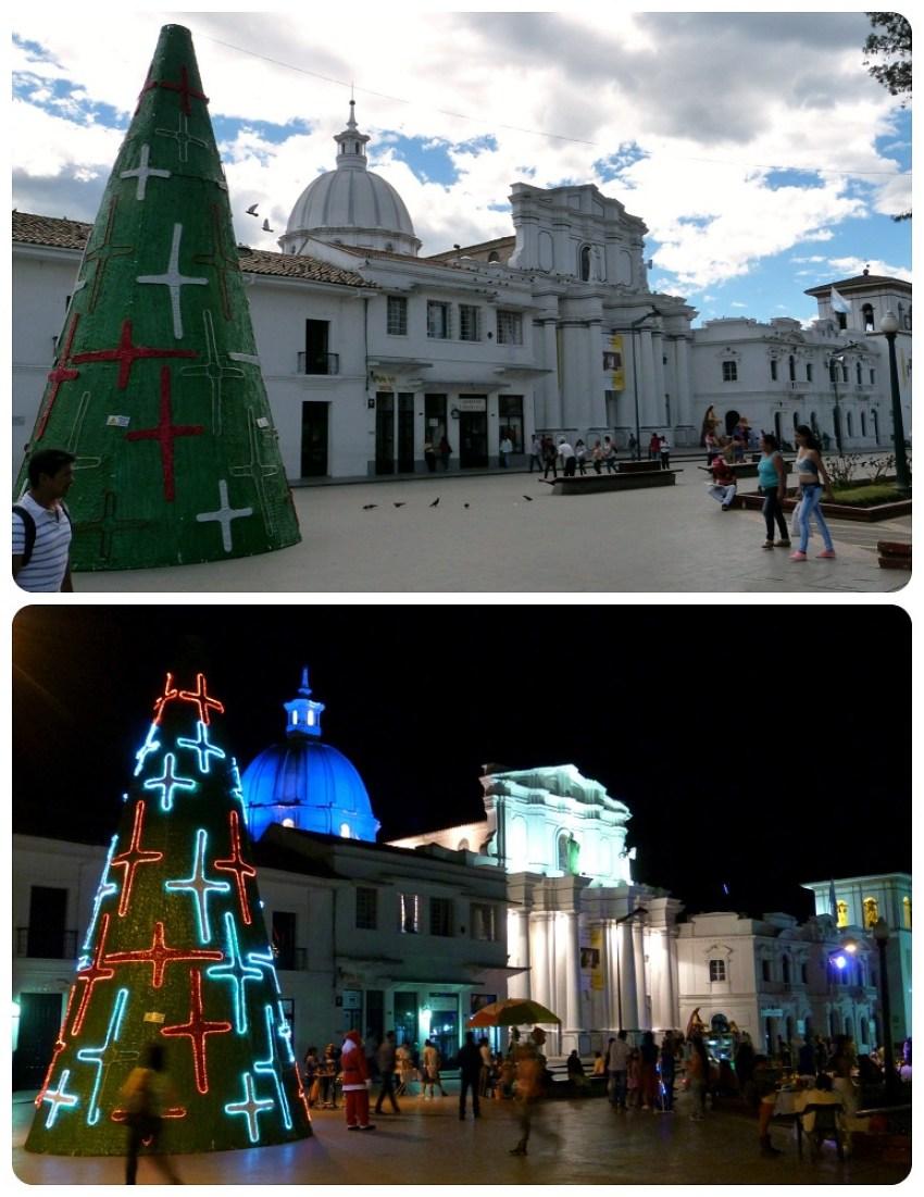 cathédrale de Popayán de jour et de nuit