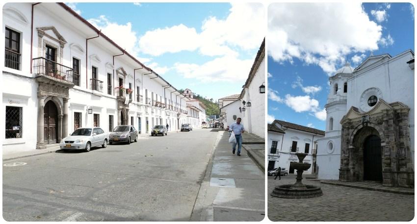 rue avec balcons et église santo domingo de Popayán