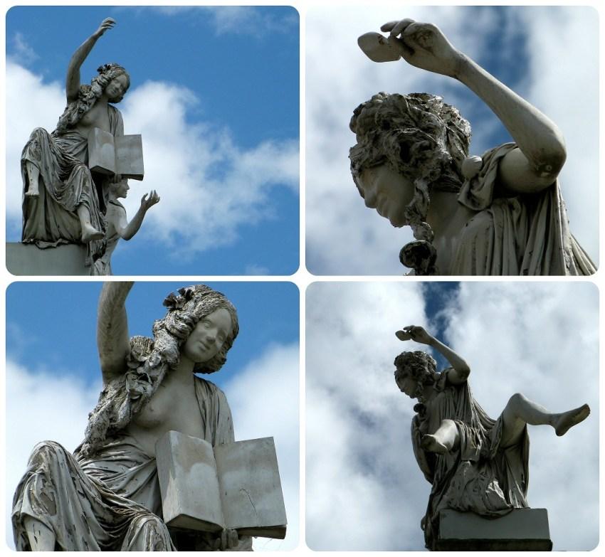 zoom sobre 4 estatuas en lo alto del teatro Guillermo Valencia de Popayán