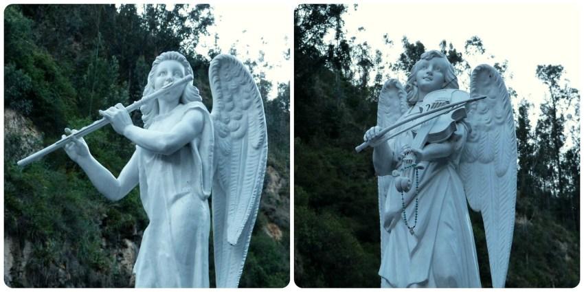 esculturas de ángeles tocando música en el Santuario de las Lajas de Ipiales