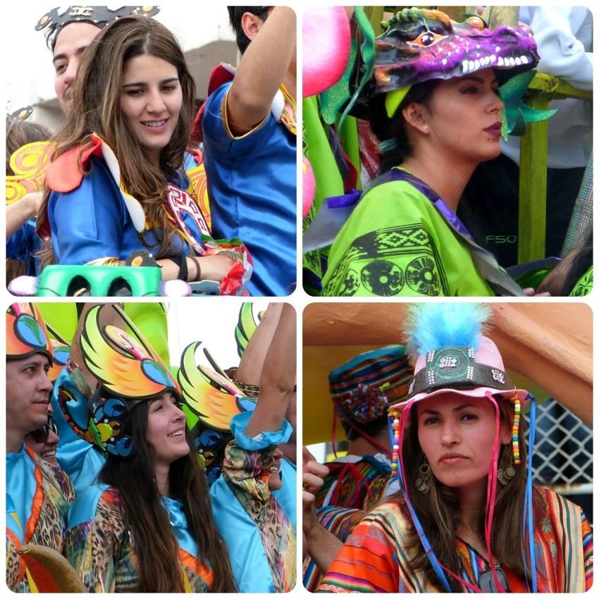 mujeres en carros del desfile del carnaval de Pasto