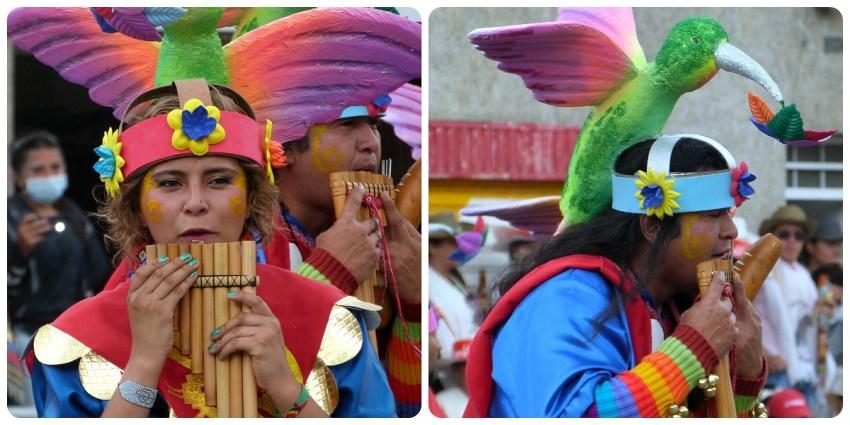 flautistas en el desfile del carnaval de Pasto