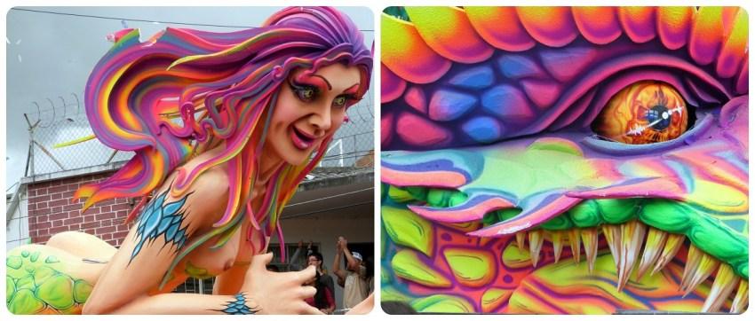 grous plan sur la femme et le dragon du char au carnaval de Pasto