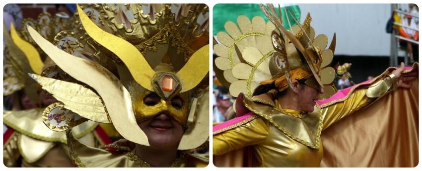 mujer con una mascara del Sol en el carnaval de Pasto
