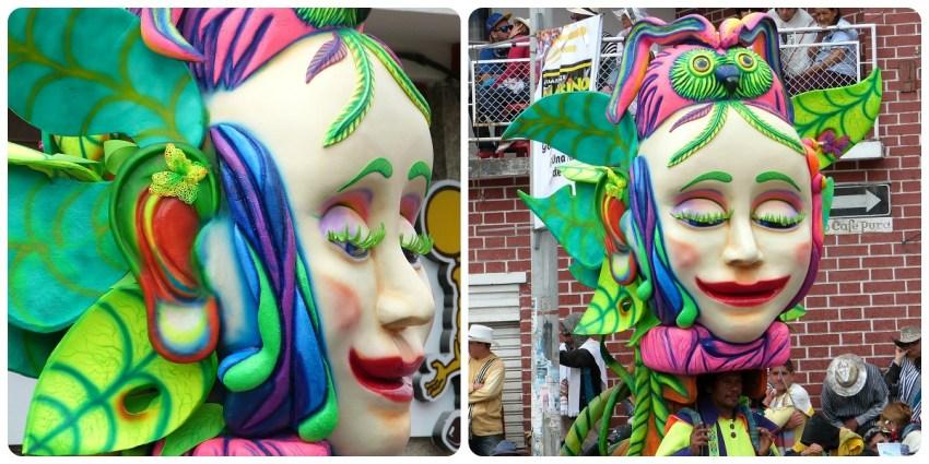 personaje de mujer con pestañas verdes en el carnaval de Pasto