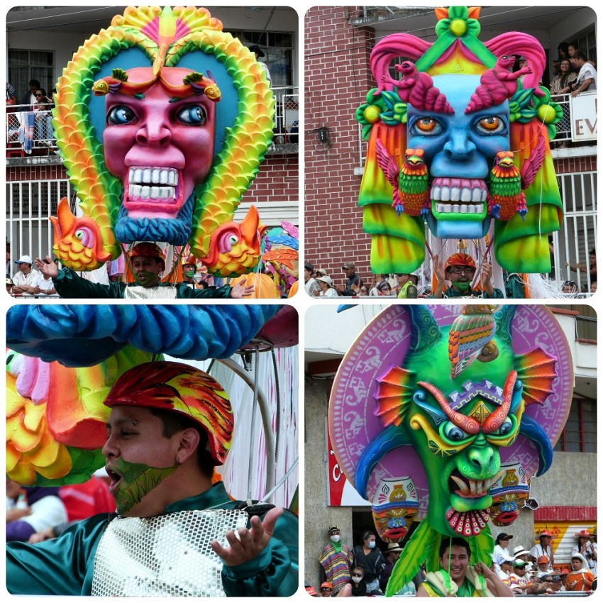 personajes coloridos en el carnaval de Pasto