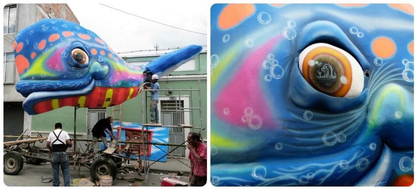 char avec une baleine colorée pour le carnaval de Pasto
