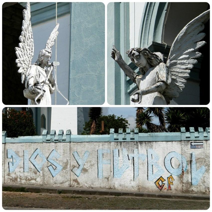 Zoom sobre los ángeles y un muro del Templo San Felipe Neri de Pasto