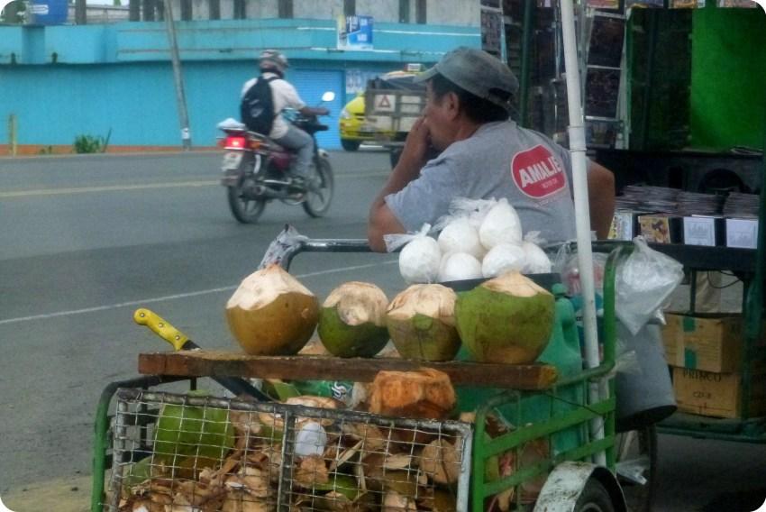 Vendedor de coco en Santo Domingo de los Colorados