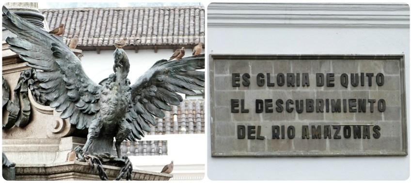escultura al pie del monumento de la independencia en la Plaza Grande de Quito
