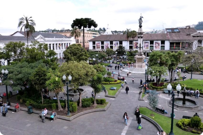 Plaza Grande vue depuis le Palacio presidencial de Quito