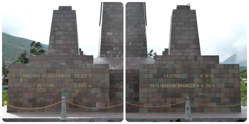 longitude et latitude sur le monument de la Mitad del Mundo de Quito