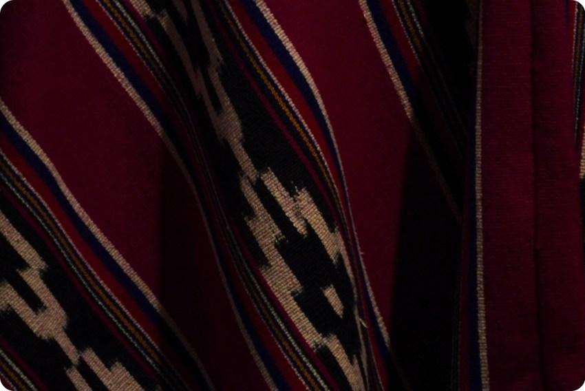tela de un poncho en el museo de la Mitad del Mundo de Quito