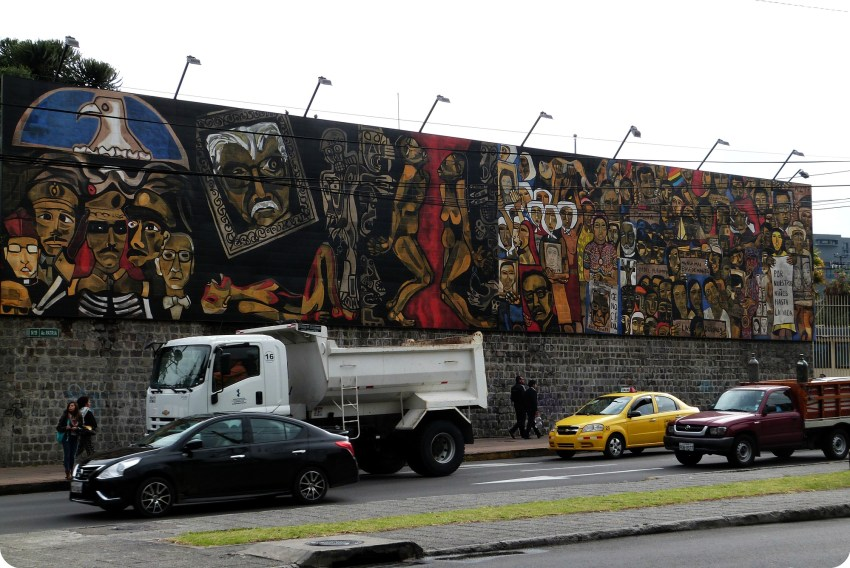 street art sur un mur de Quito