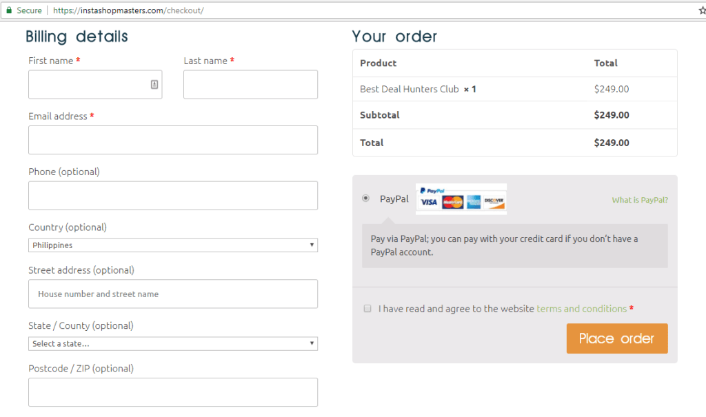 Buying an Online Store Step 2