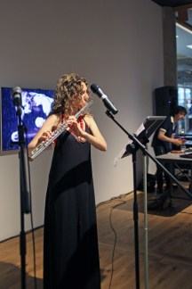 Flautist Sara Minelli and composer Matteo Guiliani performing 'Narcissus' with film by Kevin Burke at Ambition by Instigate Arts at HOMEmcr on Saturday 9th July 2016