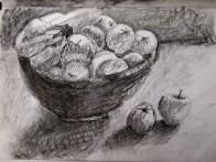 Fruit bowl tonal sketch