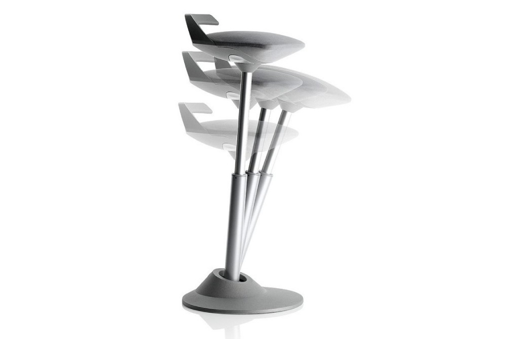MUVMAN's articulating stem moves with you, ideal for our height adjustable counters and help desks.
