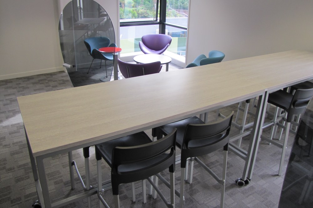 DIVO Stool with BENCH Basics Table, at the University of Auckland's Carlaw Park Student Village.